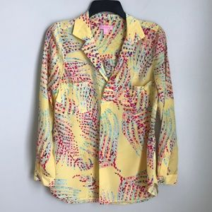 Lilly Pulitzer Yellow Silk Long Sleeve Blouse